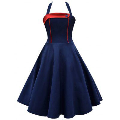 Buy BLUE AND RED M Vintage Halter Contrast Insert High Waisted Dress for $29.42 in GearBest store