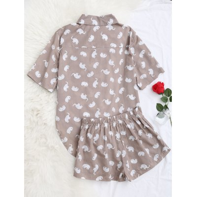 Elephant Print Blouse with ShortsPajamas<br>Elephant Print Blouse with Shorts<br><br>Material: Cotton, Polyester<br>Package Contents: 1 x Blouse  1 x Shorts<br>Pattern Type: Animal<br>Weight: 0.3200kg