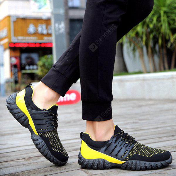 YELLOW AND BLACK Color Block Patent Leather Athletic Shoes