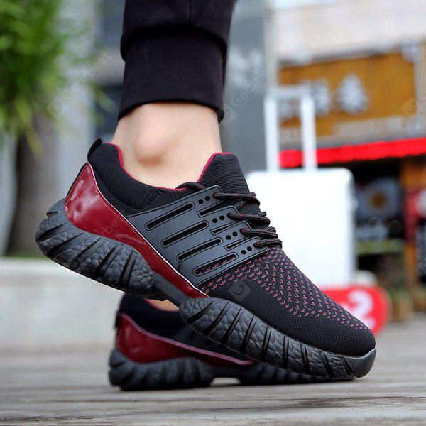 BLACK RED Color Block Patent Leather Athletic Shoes