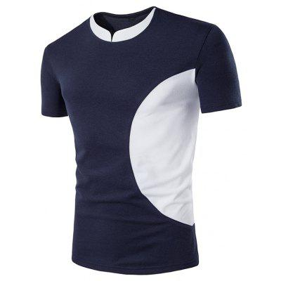 Crew Neck Color Block Curve Panel Short Sleeve T-Shirt