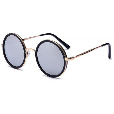 Buy GOLD FRAME + SILVER LENS Retro Round Reflective Mirrored Metal Frame Sunglasses for $6.32 in GearBest store
