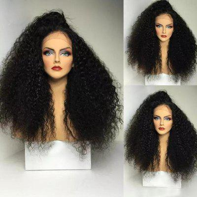 Buy BLACK Side Part Long Shaggy Afro Curly Lace Front Synthetic Wig for $62.17 in GearBest store