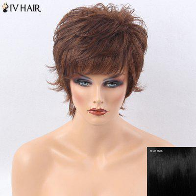 Siv Hair Side Bang Short Layered Shaggy Tail Upwards Straight Human Hair Wig