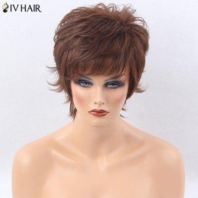 Buy LIGHT BROWN Siv Hair Side Bang Short Layered Shaggy Tail Upwards Straight Human Hair Wig for $54.32 in GearBest store