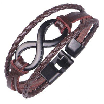 Faux Leather Rope Braid Infinite Bracelet