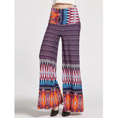 Buy PURPLE M Floral Printed High Waisted Palazzo Pants for $21.47 in GearBest store