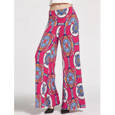 Buy ROSE MADDER 2XL Floral Printed High Waisted Palazzo Pants for $21.47 in GearBest store