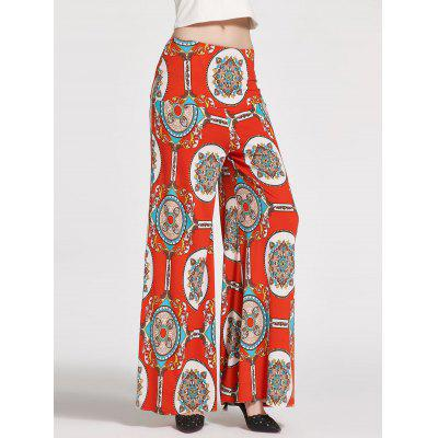 Buy WHITE + ORANGE + BLUE S Floral Printed High Waisted Palazzo Pants for $21.47 in GearBest store