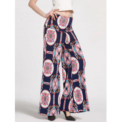 Buy DEEP BLUE S Floral Printed High Waisted Palazzo Pants for $21.47 in GearBest store