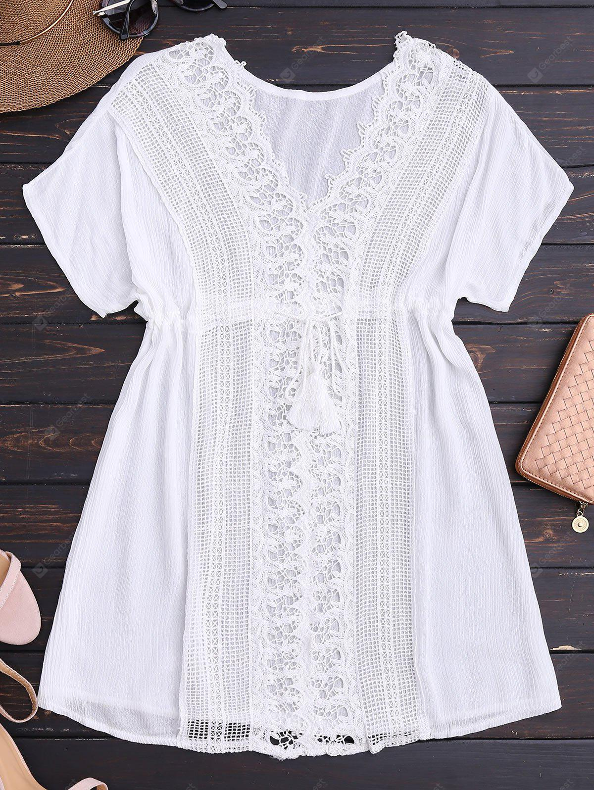 WHITE V Neck Lace Panel Beach Dress
