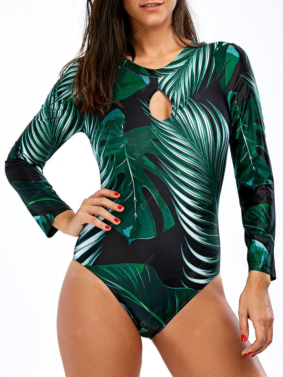 Backless Palm Tree Unlined One-Piece Swimsuit