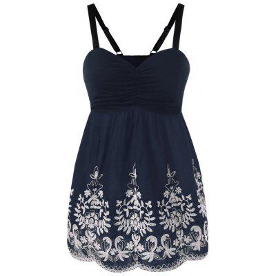 Plus Size Empire Waist Embroidery Tank Top