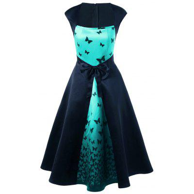 Bowknot Embellished Butterfly Print Tea Length Vintage Dress