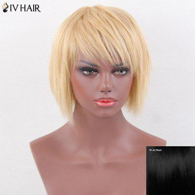 Siv Hair Layered Pixie Short Oblique Bang Straight Human Hair Wig