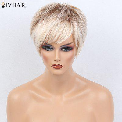 Buy WHITE AND BROWN Siv Hair Side Bang Layered Silky Short Straight Colormix Human Hair Wig for $56.75 in GearBest store