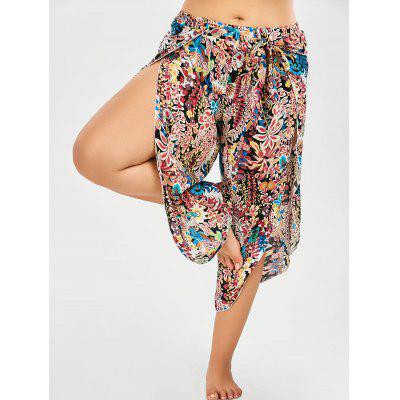 Plus Size Belted Tropical Floral Slit Flowy Palazzo Pants