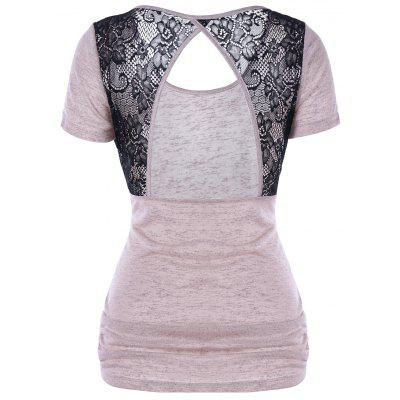 Buy SHALLOW PINK L Lace Trim Open Back T-Shirt for $15.30 in GearBest store
