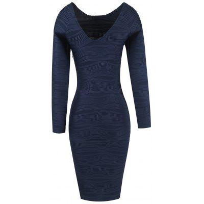 Buy PURPLISH BLUE L Long Sleeve Ribbed Bodycon Dress for $25.21 in GearBest store