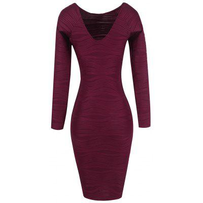 Buy WINE RED S Long Sleeve Ribbed Bodycon Dress for $25.21 in GearBest store