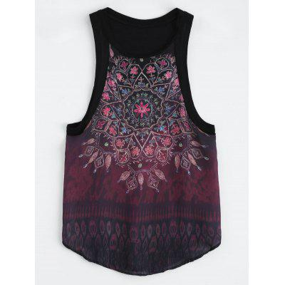 Buy BLACK L Floral Print Curved Hem Racerback Tank Top for $17.57 in GearBest store