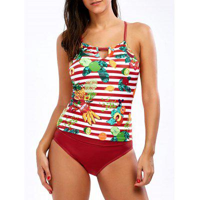 Pineapple Tropical Cross Back Tankini Set