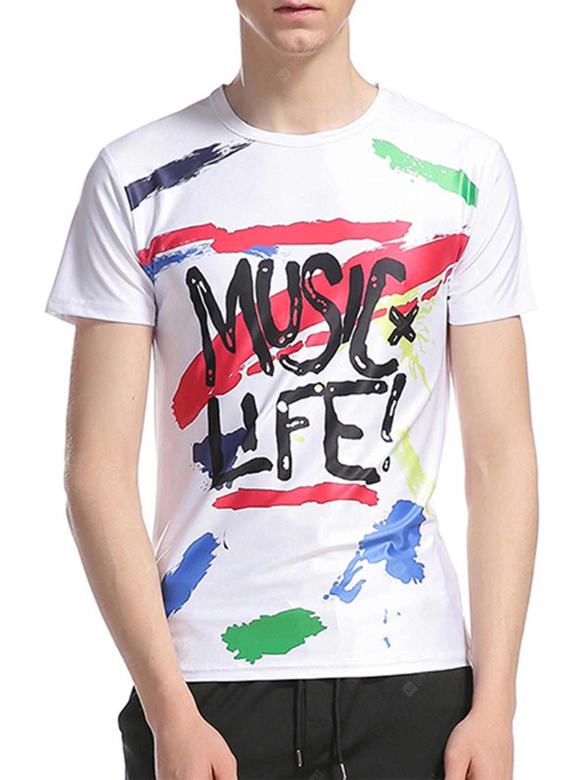 Crew Neck Graphic Splatter Paint Print T-Shirt
