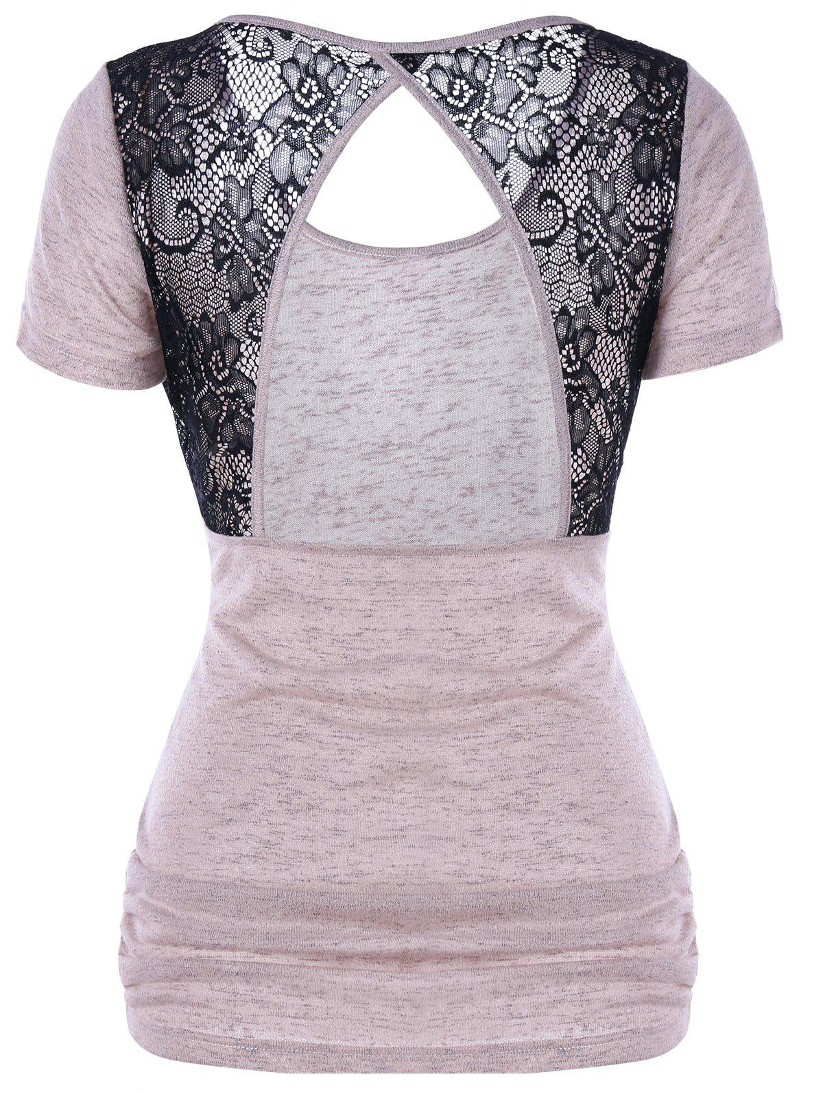 SHALLOW PINK XL Lace Trim Open Back T-Shirt