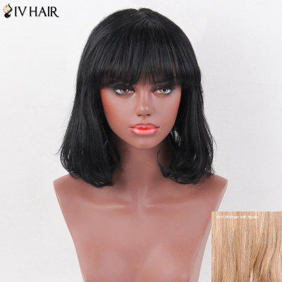 Siv Hair Medium Natural Straight Full Bang Bob Human Hair Wig