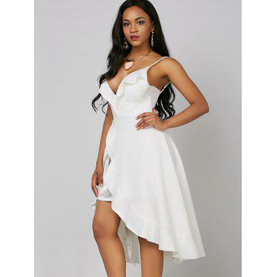 Ruffle High Low Wedding DressWomens Dresses<br>Ruffle High Low Wedding Dress<br><br>Dress Type: Slip Dress,Sundress<br>Dresses Length: Mid-Calf<br>Embellishment: Ruffles<br>Material: Polyester, Spandex<br>Neckline: Spaghetti Strap<br>Package Contents: 1 x Dress<br>Pattern Type: Solid<br>Season: Summer<br>Silhouette: High-Low<br>Sleeve Length: Sleeveless<br>Style: Sexy &amp; Club<br>Weight: 0.4700kg<br>With Belt: No