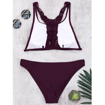 Racerback Braided Strappy Bikini SetLingerie &amp; Shapewear<br>Racerback Braided Strappy Bikini Set<br><br>Bra Style: Padded<br>Elasticity: Micro-elastic<br>Embellishment: Strappy<br>Gender: For Women<br>Material: Polyester, Spandex<br>Neckline: High Neck<br>Package Contents: 1 x Bra  1 x Panties<br>Pattern Type: Solid Color<br>Support Type: Wire Free<br>Swimwear Type: Bikini<br>Waist: Natural<br>Weight: 0.2000kg