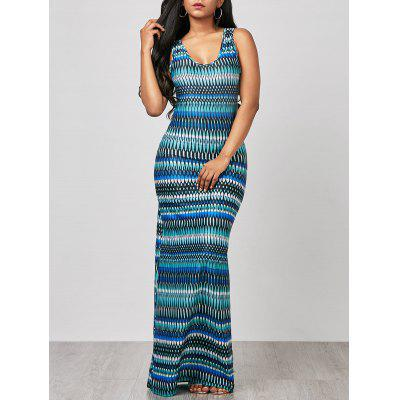 Buy COLORMIX M Sleeveless Ornate Print Maxi Beach Dress for $21.06 in GearBest store