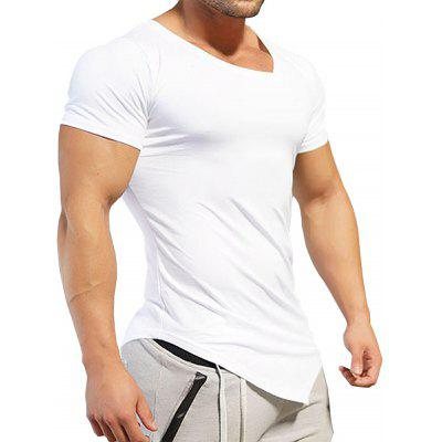 V Neck Asymmetric T-ShirtMens Short Sleeve Tees<br>V Neck Asymmetric T-Shirt<br><br>Collar: V-Neck<br>Material: Cotton, Spandex<br>Package Contents: 1 x Tee<br>Pattern Type: Solid<br>Sleeve Length: Short<br>Style: Casual, Fashion<br>Weight: 0.2020kg