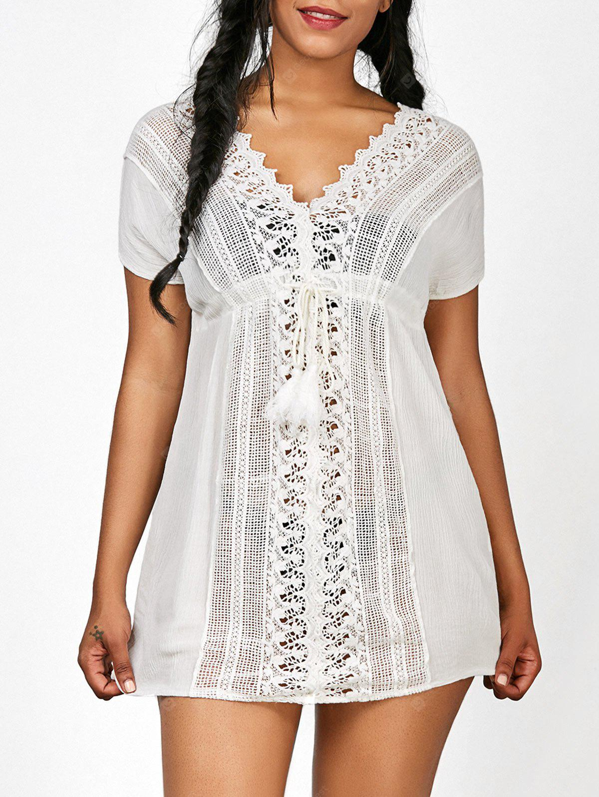 Crochet Panel Drawstring V Neck Tunic Cover-Up