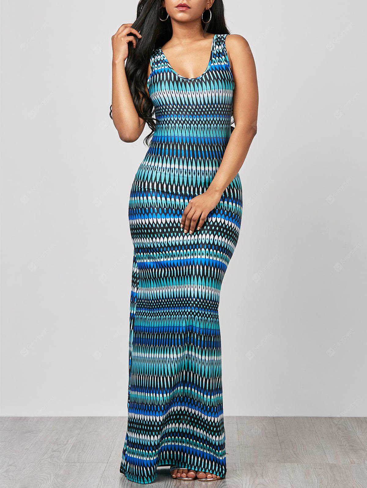 COLORMIX XL Sleeveless Ornate Print Maxi Beach Dress