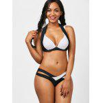Color Block Strappy acolchado Bikini Swimwear - BLANCO