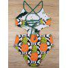 High Neck Cut Out Pineapple Print Monokini - COLORMIX