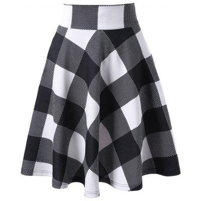 High Waisted Checked Zippered Skirt