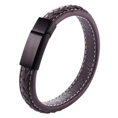 Cool Faux Leather Rope Braid Bracelet
