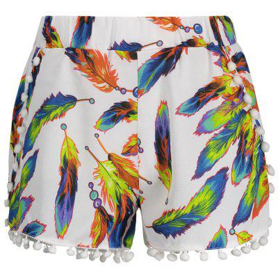 Leaves Print Tassels High Waist Shorts