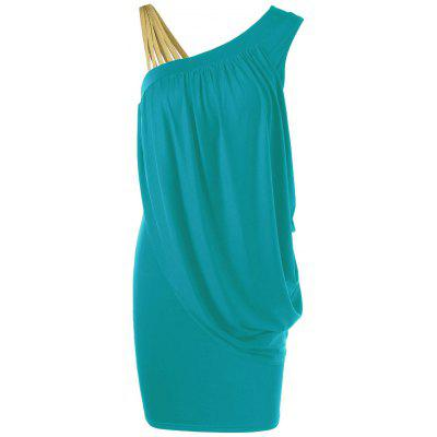 Skew Collar Drape Bodycon Vestido