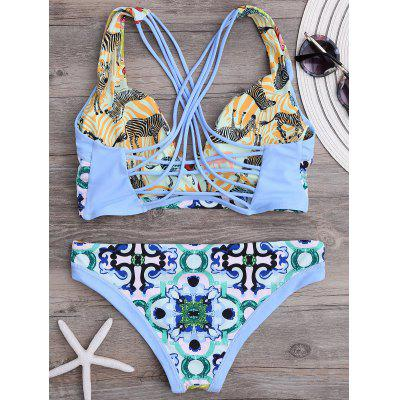 Cross Back Strappy Floral ReversibleBikini SetLingerie &amp; Shapewear<br>Cross Back Strappy Floral ReversibleBikini Set<br><br>Bra Style: Padded<br>Elasticity: Micro-elastic<br>Embellishment: Criss-Cross<br>Gender: For Women<br>Material: Polyester, Spandex<br>Neckline: Spaghetti Straps<br>Package Contents: 1 x Bra  1 x Panties<br>Pattern Type: Floral<br>Support Type: Wire Free<br>Swimwear Type: Bikini<br>Waist: Natural<br>Weight: 0.2200kg