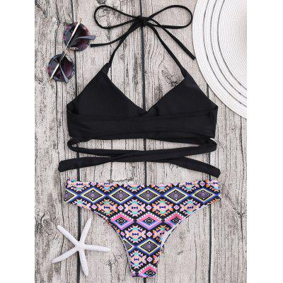 Geometric Print Halter Wrap Bikini SetLingerie &amp; Shapewear<br>Geometric Print Halter Wrap Bikini Set<br><br>Bikini Type: Wrap Bikini<br>Bra Style: Padded<br>Elasticity: Micro-elastic<br>Gender: For Women<br>Material: Polyester, Spandex<br>Neckline: Halter<br>Package Contents: 1 x Bra  1 x Panties<br>Pattern Type: Geometric<br>Support Type: Wire Free<br>Swimwear Type: Bikini<br>Waist: Natural<br>Weight: 0.2000kg