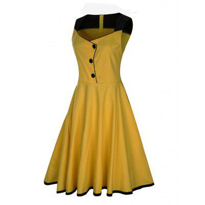 Vintage Button Embellished Sleeveless Dress