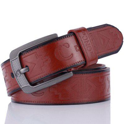 Retro Embossed Faux Leather Pin Buckle Belt