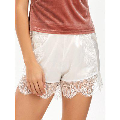Eyelash Lace Insert Satin Shorts