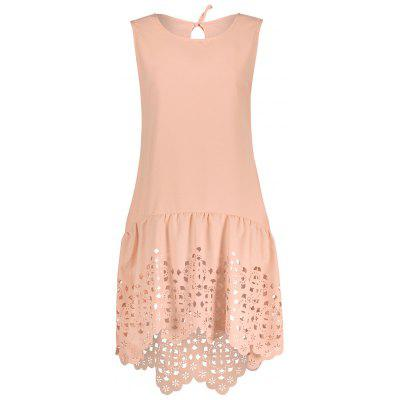 Buy PINK S Drop Waisted Hollow Out Hem Sleeveless Dress for $17.94 in GearBest store