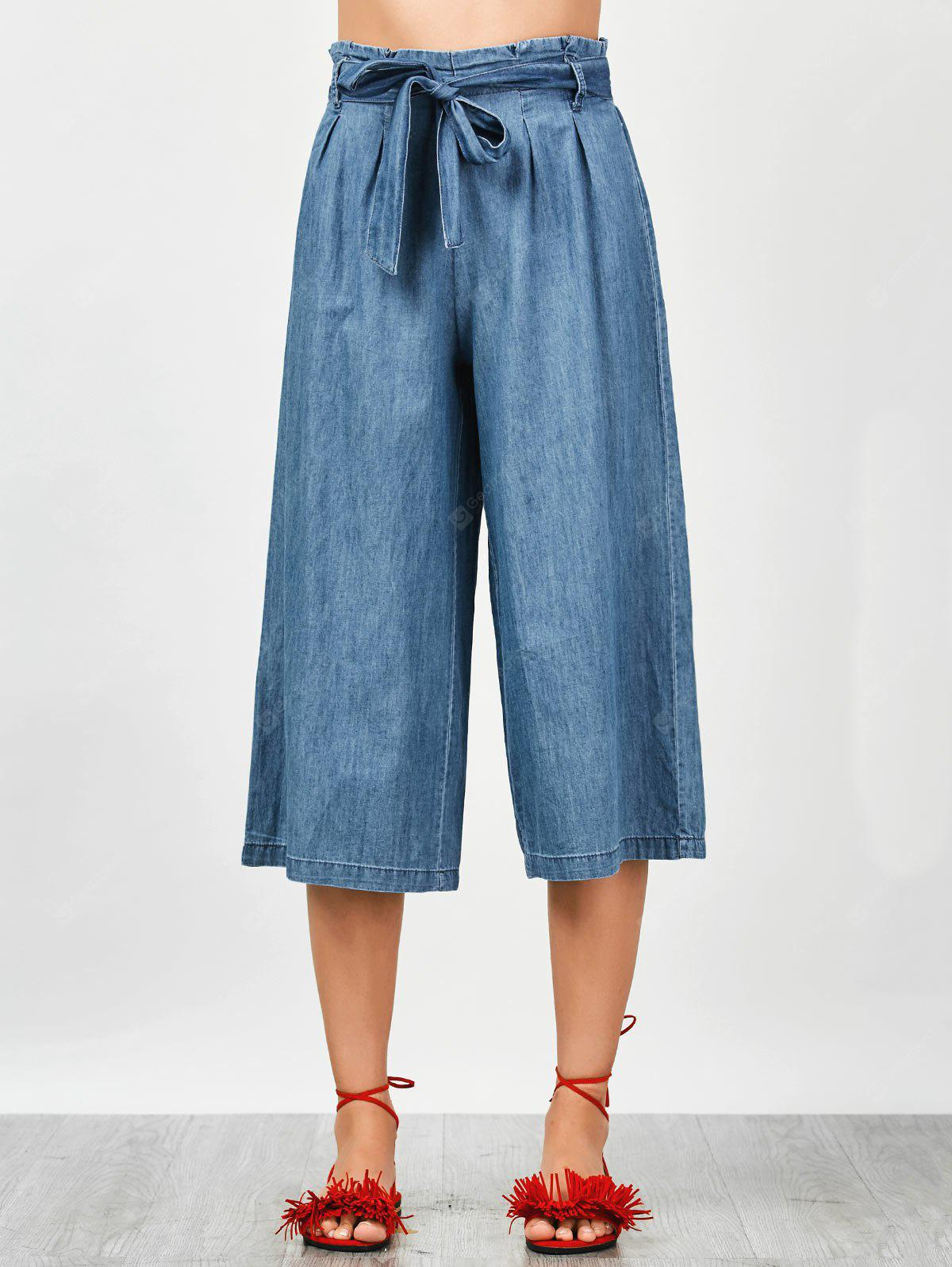 Bowknot Tencel Wide Leng Capri Pants