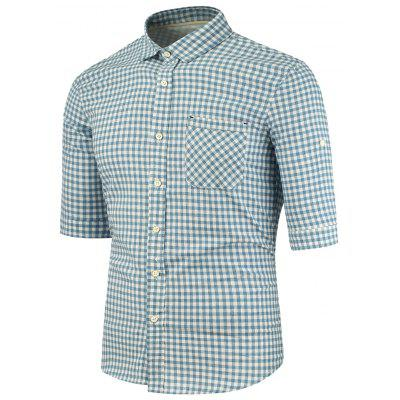 Buy BLUE Turndown Collar Half Sleeve Pocket Plaid Shirt for $26.75 in GearBest store