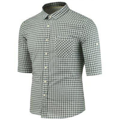 Buy GRAY Turndown Collar Half Sleeve Pocket Plaid Shirt for $26.75 in GearBest store